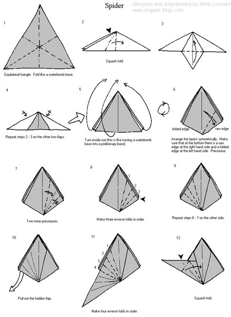 How To Make An Origami Spider - origami origami club basic origami folds origami folds