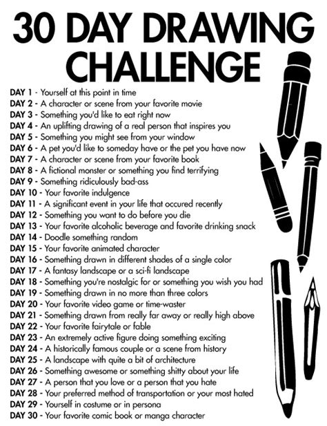1 Drawing A Day by 30 Day Drawing Challenge Just Some Ideas Drawing Things