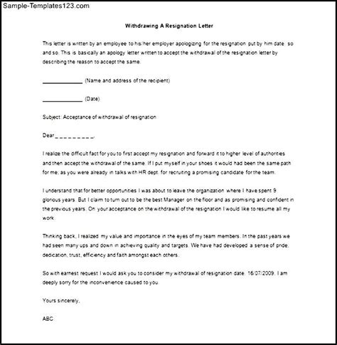 format letter of withdrawal resignation letter how to withdraw resignation letter sle format letter to take back