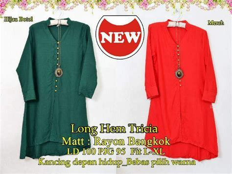 Dress Merah Sw jual hem tricia sw dress wanita rayon bangkok hijau