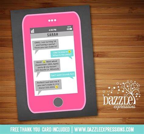 birthday invitation sle text printable cell phone text message birthday invitation iphone inspired invite omg tween