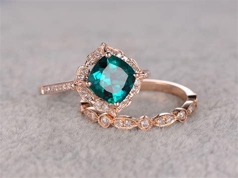 2pcs emerald engagement ring set golddiamond wedding