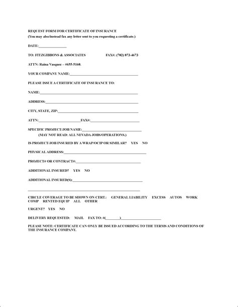 Forms Fitzgibbons Associates Insurance Request For Template