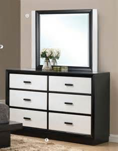 black bedroom dresser debora black white contemporary 6 drawer dresser with mirror acme contemporary bedroom