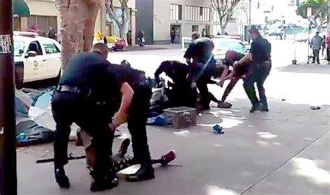 white man gunned down by black teens disturbing video captures moment lapd officers gun down