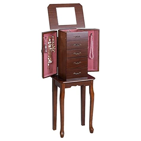 small jewelry armoire small tall walnut wood jewelry armoire cabinet stand zen merchandiser