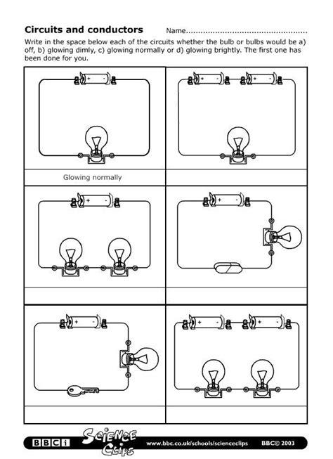 electrical symbols for conductors schools science circuits and conductors worksheet for educators