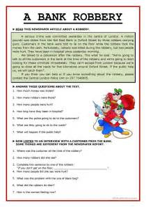 A Bank Robbery Essay by A Bank Robbery Worksheet Free Esl Printable Worksheets Made By Teachers