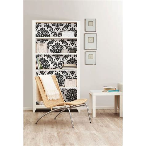 black and white damask wallpaper home depot nuwallpaper 30 75 sq ft ariel black and white damask