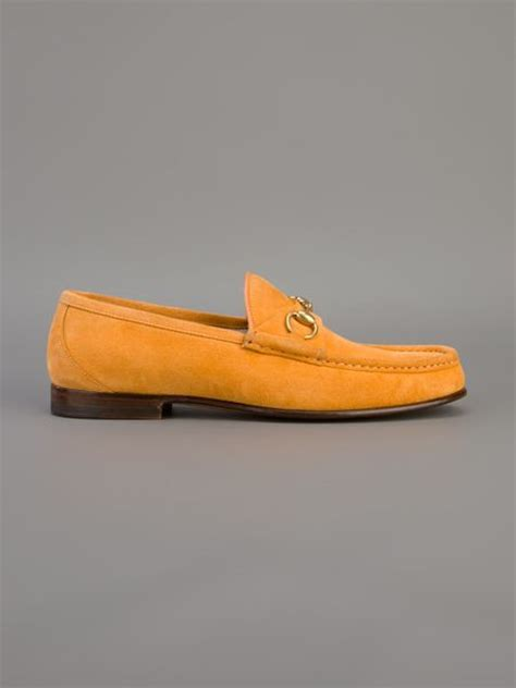 mens orange suede loafers gucci suede loafers in orange for lyst