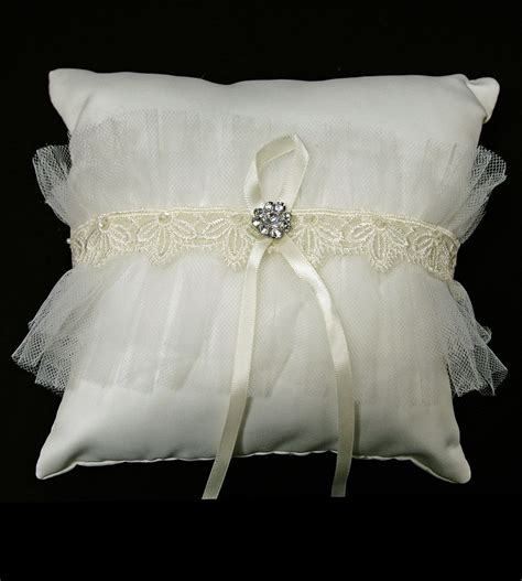ivory satin ring bearer pillow w lace rhinestone