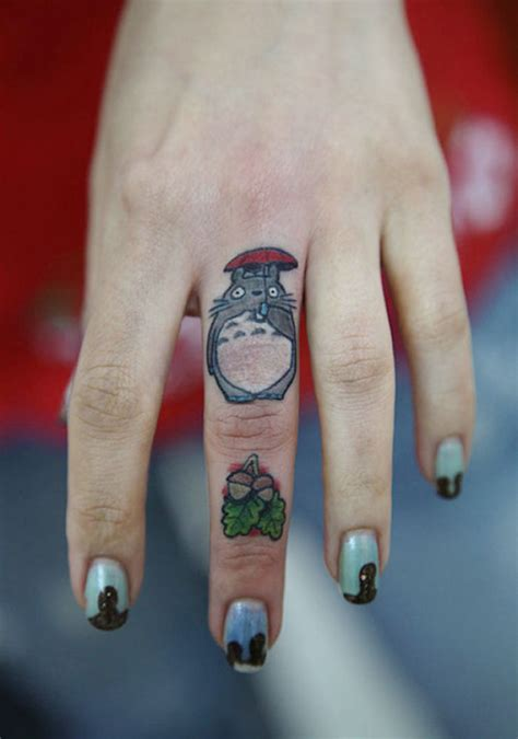 panda tattoo on finger totoro finger tattoo bored panda