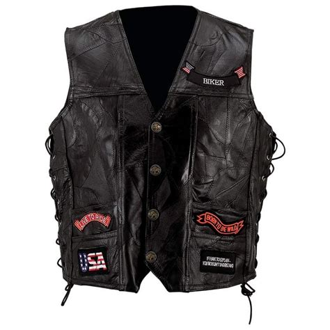 leather motorcycle vest mens black leather motorcycle vest 14 patches eagle usa flag
