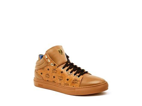 mcm low top sneakers lyst mcm visetos carryover low top sneakers in brown for