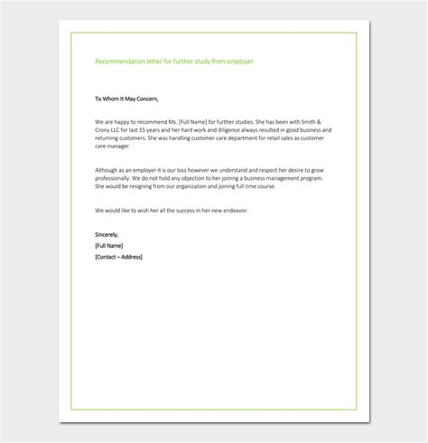 Letter Of Support From Employer For Study recommendation letter for graduate school from employer