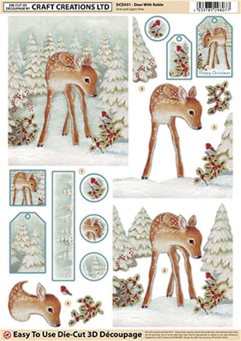 Die Cut Decoupage - grafton crafts 3d decoupage die cut deer with robin
