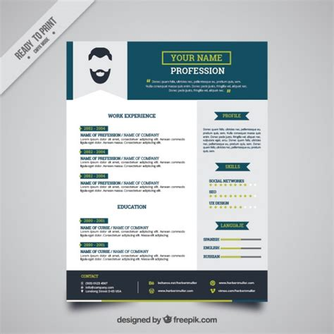 Modelo Curriculum Vitae Illustrator Blue Resume Template Vector Free