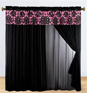 Black Valance 4 P Silky Satin Flocking Damask Floral Valance Curtain Set
