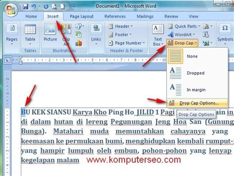 cara membuat tulisan halaman di word 2010 cara membuat drop cap di word 2007 komputer seo