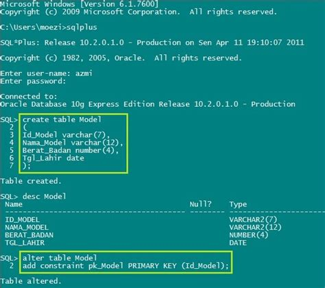 membuat database oracle dengan sqlplus moezi blog membuat table model pada sqlplus