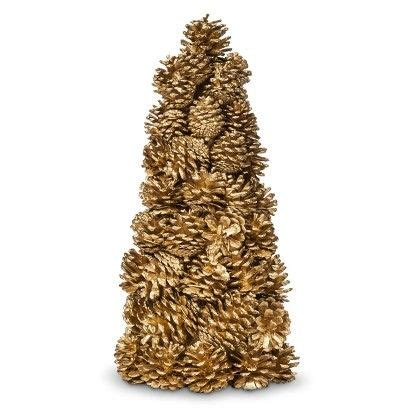 threshold pinecone tabletop christmas tree gold 13