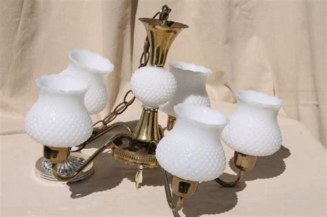 Hobnail Milk Glass Chandelier Vintage Hobnail Milk Glass Shades Chandelier Shabby Cottage Chic Farmhouse Hanging Light