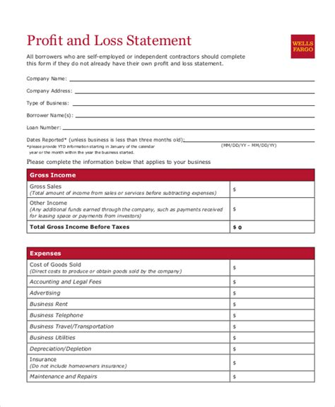 profit and loss statement template for small business sle profit and loss form 9 free documents in pdf