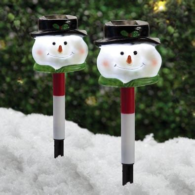 tall christmas light stakes set of 2 solar snowman stakes bits and pieces