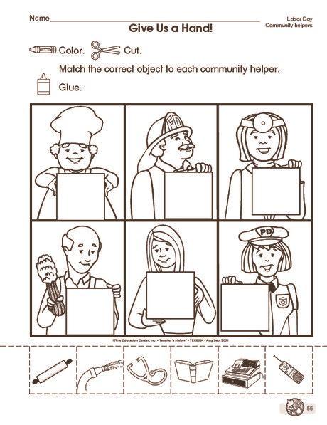 community helpers cut paste worksheet 3 community