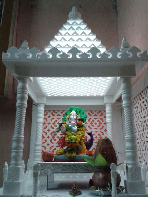 Decoration Of Temple In Home Thermocol Temple Jeet Ganesh 2014 Pinterest Temples And Medium