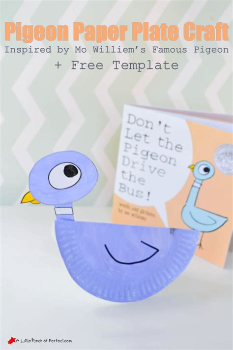pigeon paper plate craft and printable template inspired