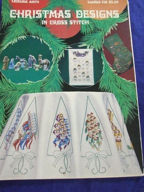 vintage  leisure arts christmas counted cross stitch pattern book nativity ebay