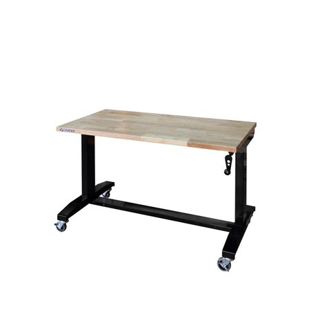 adjustable height rolling work table husky 46 in adjustable height work table holt46xdb12