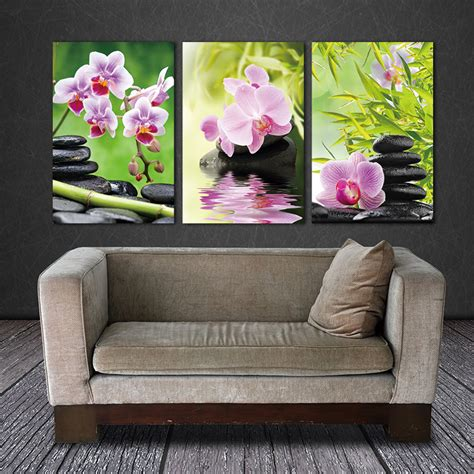 Lukisan Wall Painting Wall Decor Hiasan Dinding 1 aliexpress buy wall decor canvas painting orchid flower bamboo 3 pieces giclee