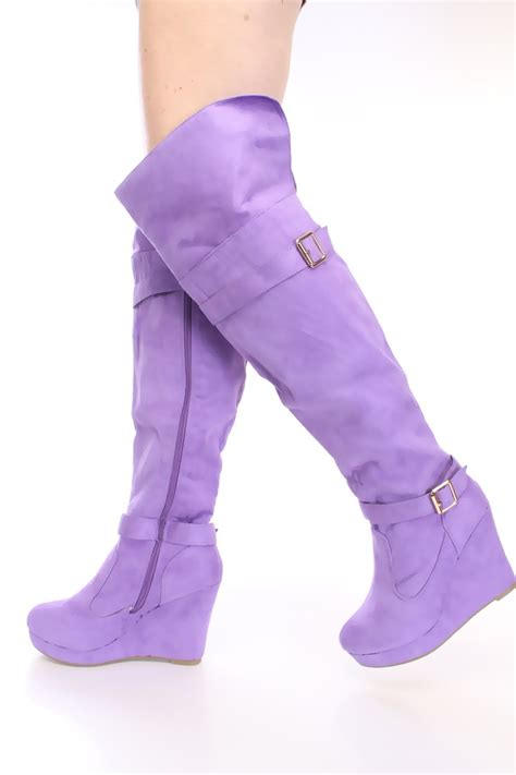purple print knee high wedge boots faux suede
