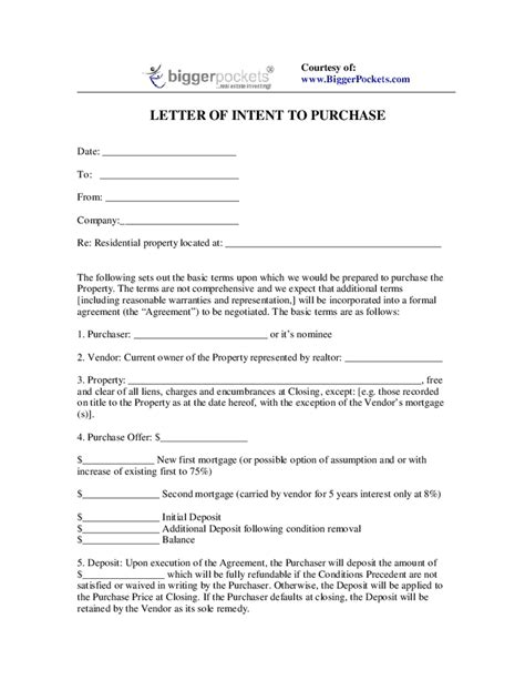 letter of intent to purchase free printable documents