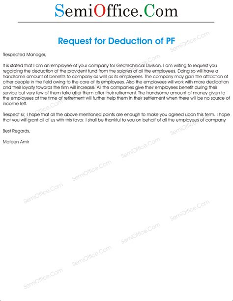 Request Letter Sle For Provident Fund Application For Requesting Deduction Of Provident Fund
