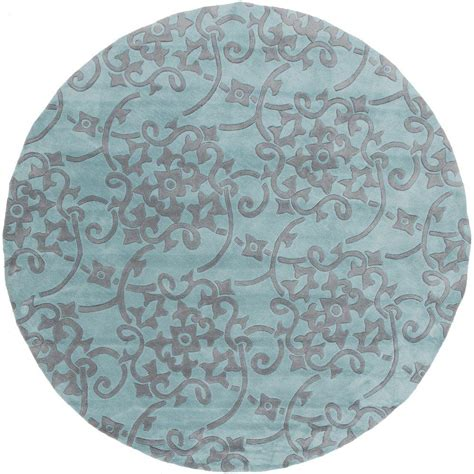 teal circle rug artistic weavers faircrest teal 8 ft x 8 ft indoor area rug s00151010242 the home depot