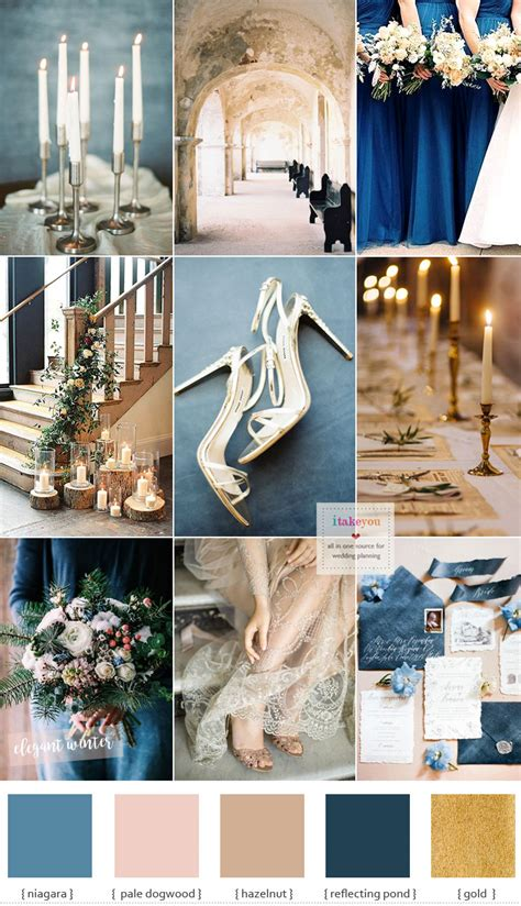 blue and gold wedding theme for winter wedding