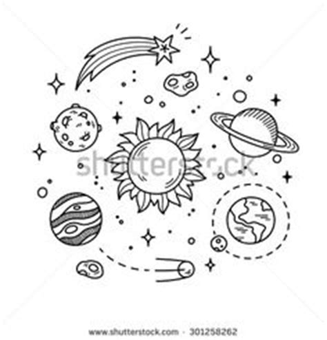 doodle planet flower style rocket vector free