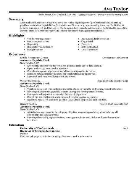 Resume Templates Accounts Payable Accounts Payable Specialist Resume Exles Accounting Finance Resume Exles Livecareer