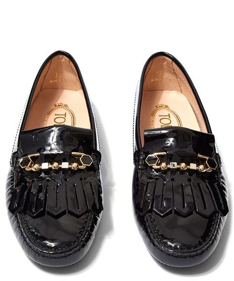 tod s black patent leather and enamel pin gommino driving