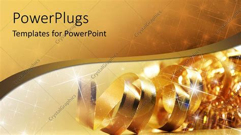 gold themes free powerpoint template gold ribbon with shiny stars and wave