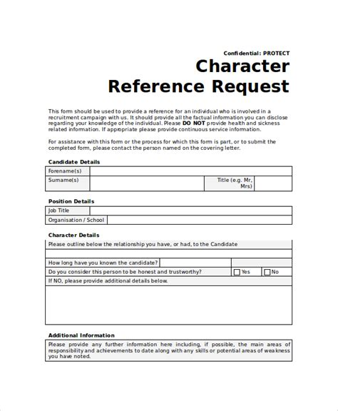 Character Reference Exles Uk Sle Reference Request Form 10 Exles In Word Pdf