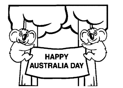 printable happy australia day coloring page