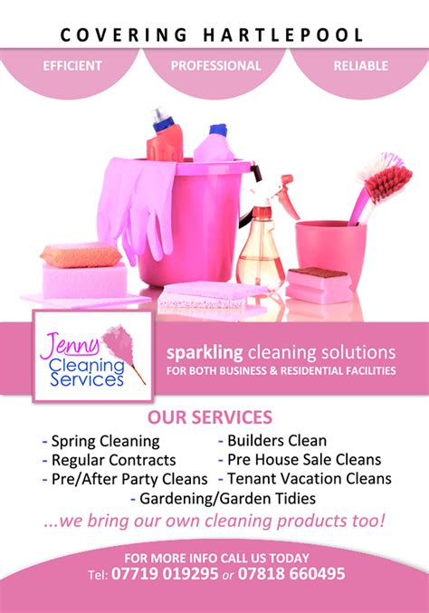 leaflet design for cleaning jenny cleaning services on behance