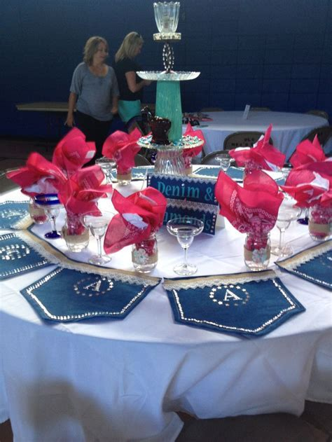 Denim & Diamonds themed luncheon table decorations   Denim