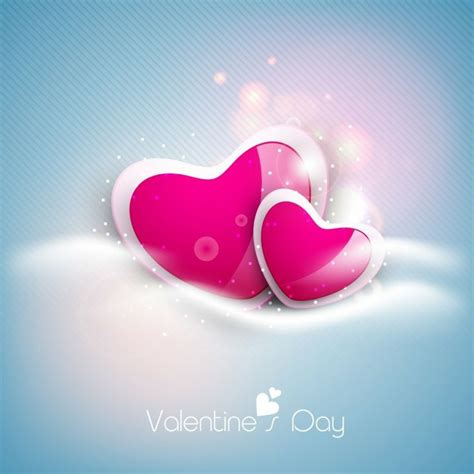 wallpaper blue valentine glossy pink hearts on shiny blue valentines day background