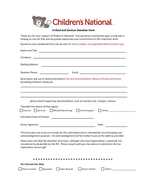 Gift In Kind Form Stephen Monaco Golf Tournament Golf Tournament Contract Template