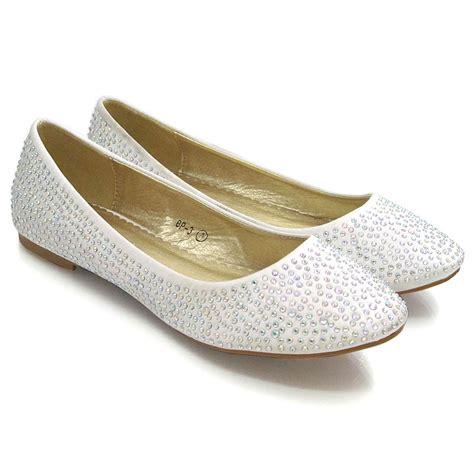 new womens bridal diamante sparkly slip on